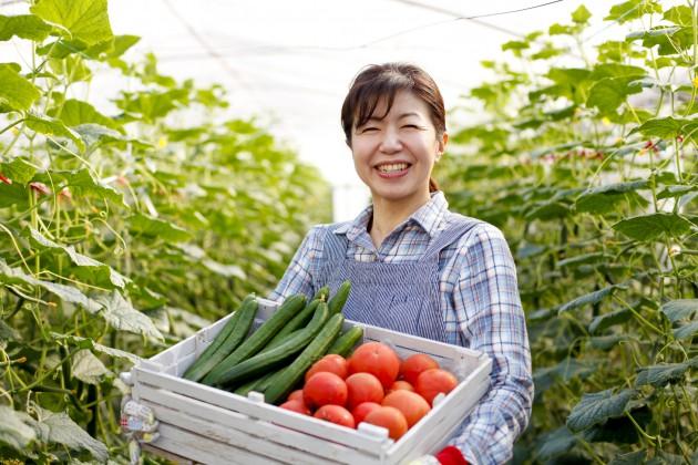 野菜を持つ農家さん