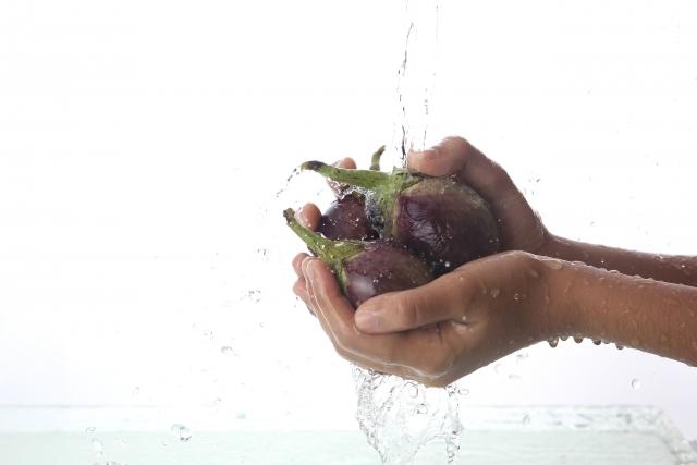 茄子を洗うところ